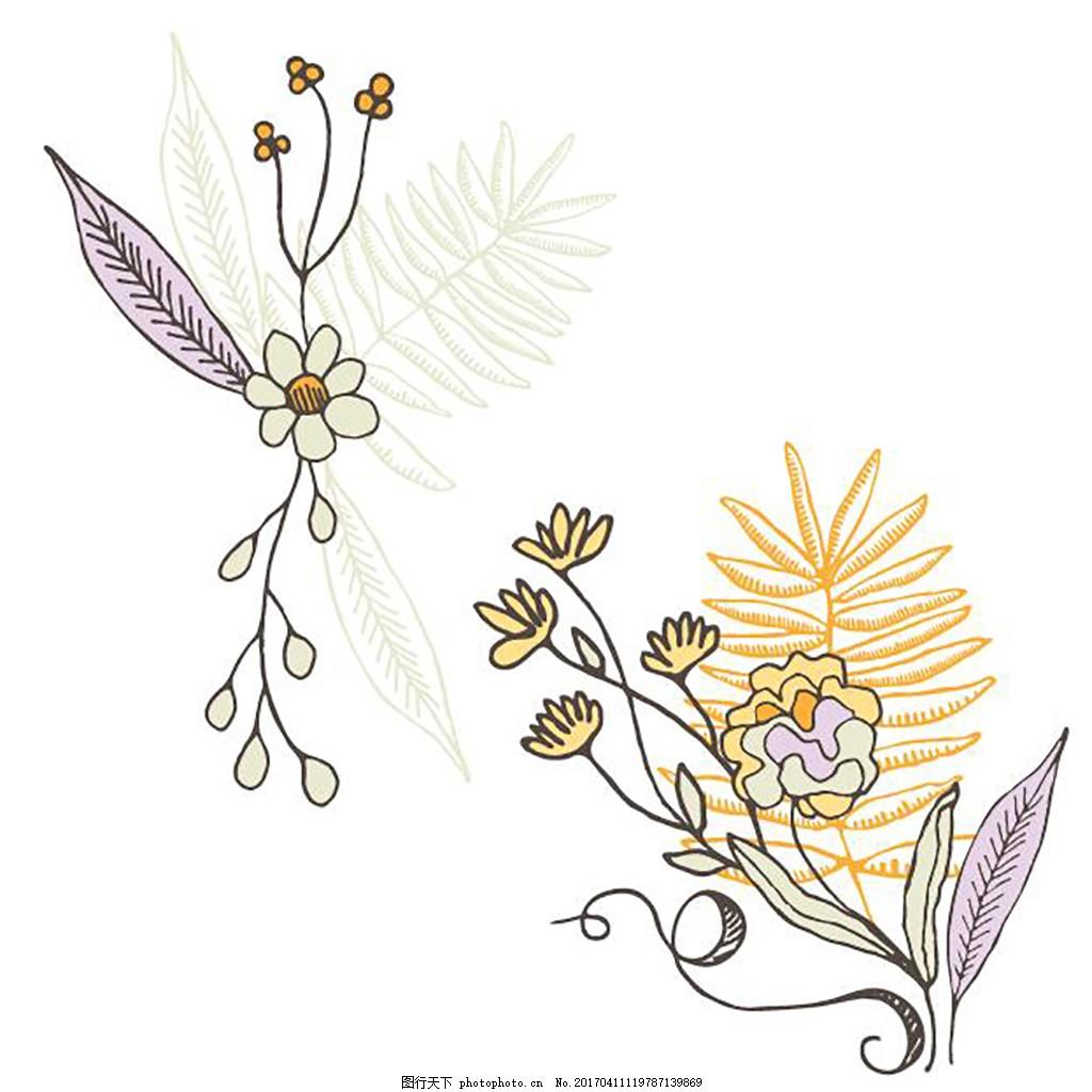花边素材元素 卡片 传统花纹 装饰花纹 水彩 手绘 角花 对称花纹