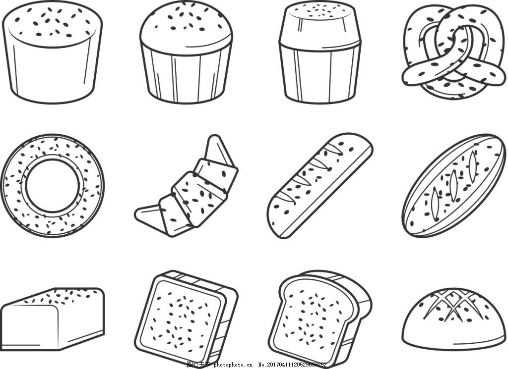 手绘面包 面包 蛋糕 矢量食物 手绘美食 矢量素材