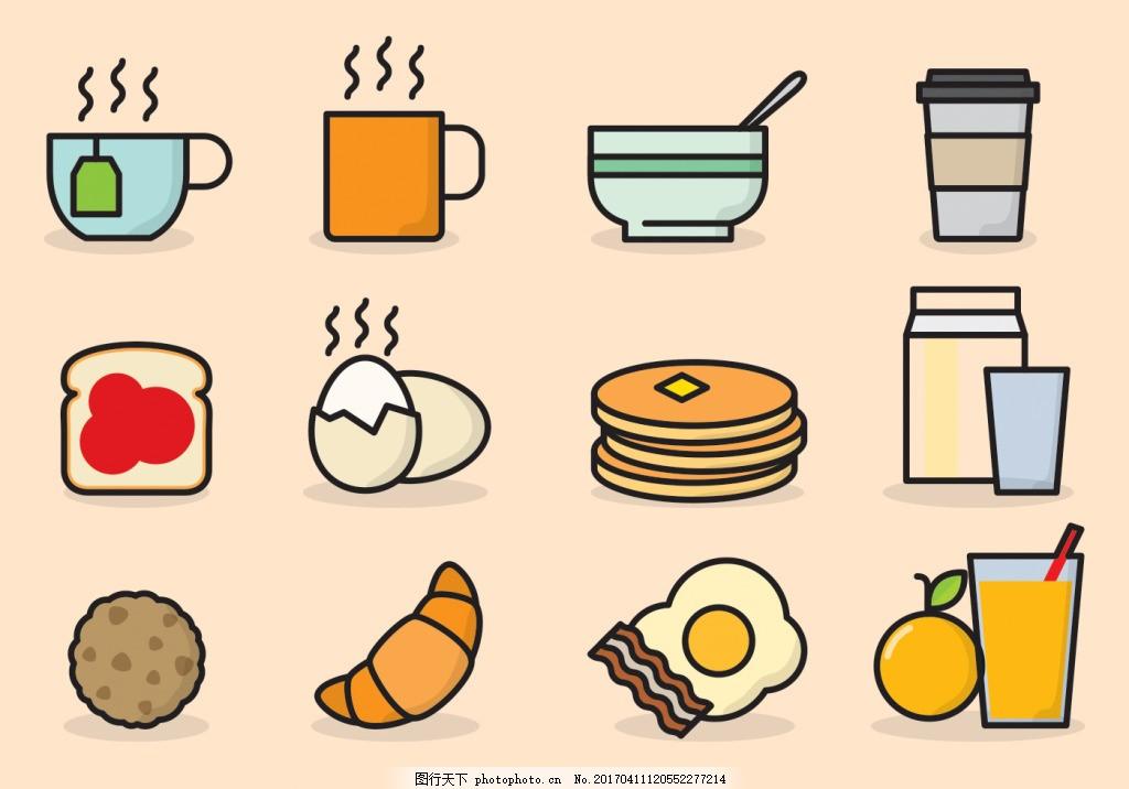 矢量食物 手绘美食 矢量素材 线性面包 早餐图标 早餐 果汁 咖啡 鸡蛋