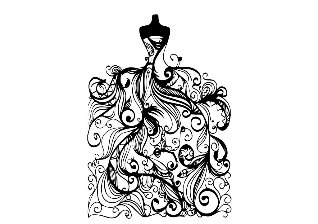 婚纱花纹 裙摆 少女 矢量 手绘 装饰 黑白