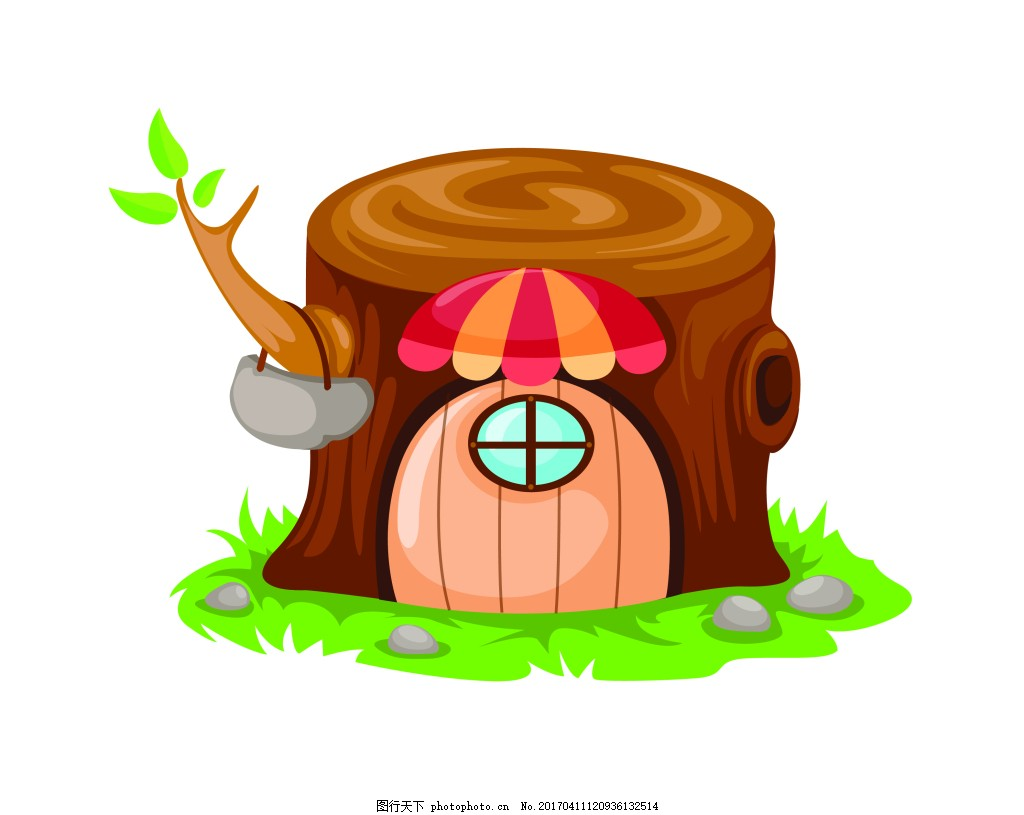 矢量木房子eps 花纹花边 可爱动物 墙贴 墙画 儿童矢量素材 卡通动物