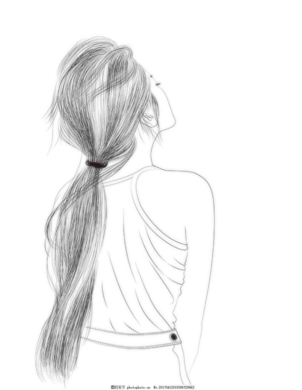 手绘线稿人物 手绘人物 黑白