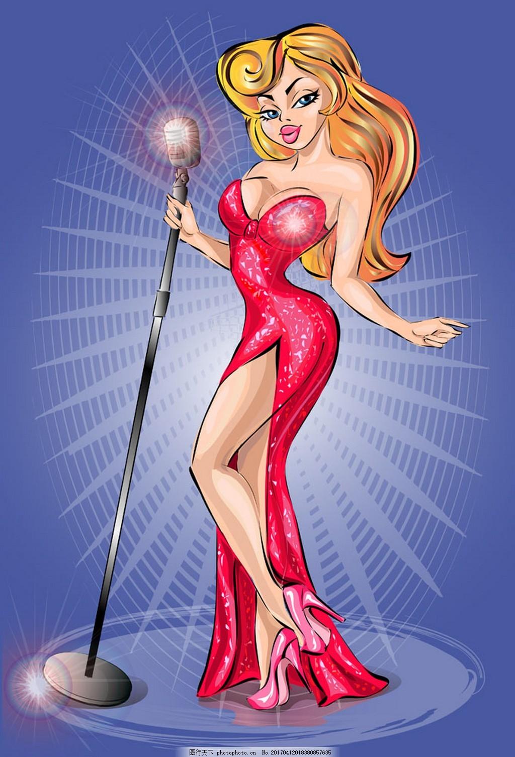 唱歌的美女漫画 人物 卡通人物 矢量素材 矢量人物 女人 性感