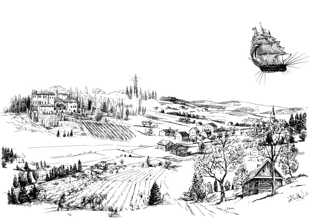 素描画田园步骤详解