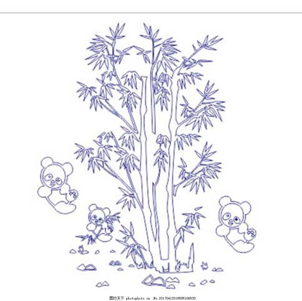 熊猫竹子矢量图