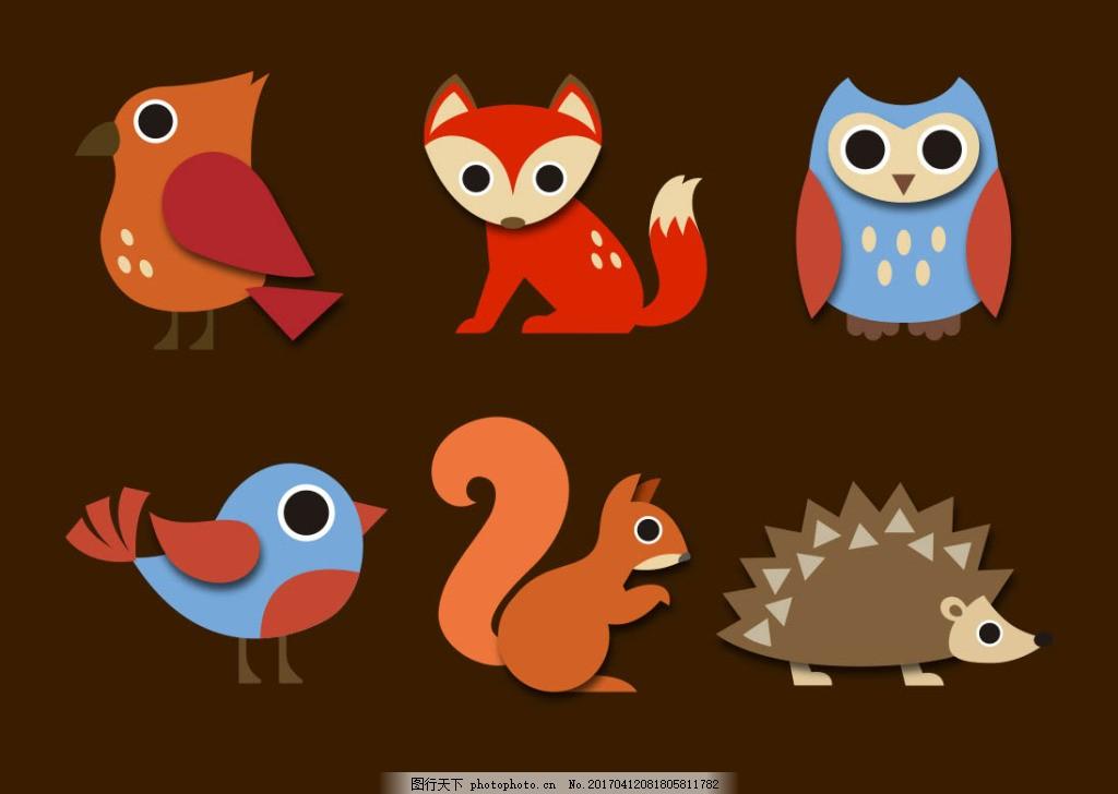 卡通动物 动物素材 动物 手绘动物 矢量素材 扁平动物 矢量动物 可爱