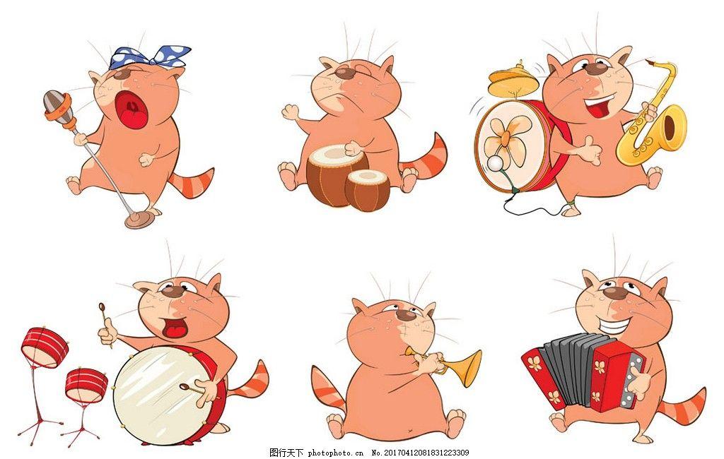 打乐器的小猫 动物 矢量素材 矢量图 鼓 喇叭