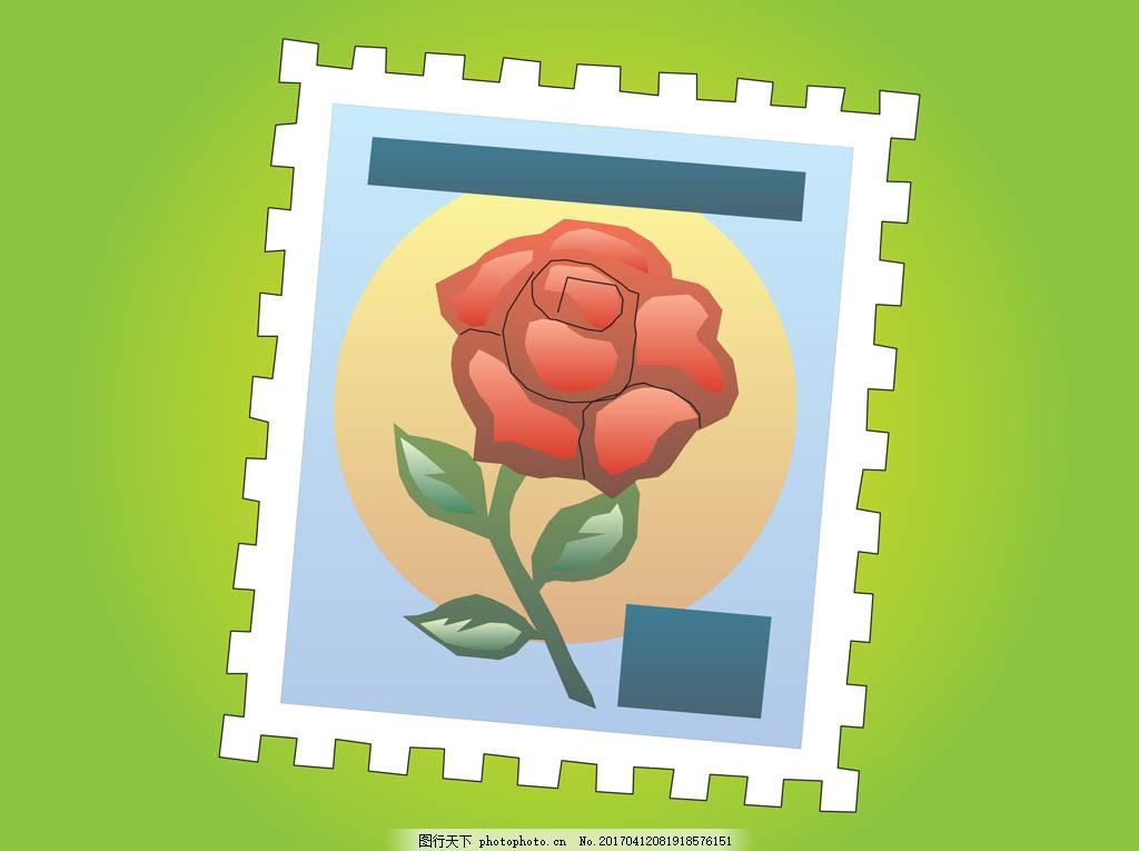手绘玫瑰花邮票 手绘花卉 手绘植物 花卉花朵 花束 花朵图案