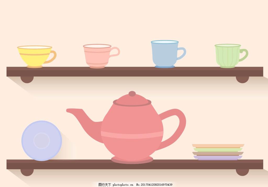 扁平可爱手绘茶具素材 茶饮 茶叶 茶包 矢量素材 茶壶 茶杯 茶具 叶子