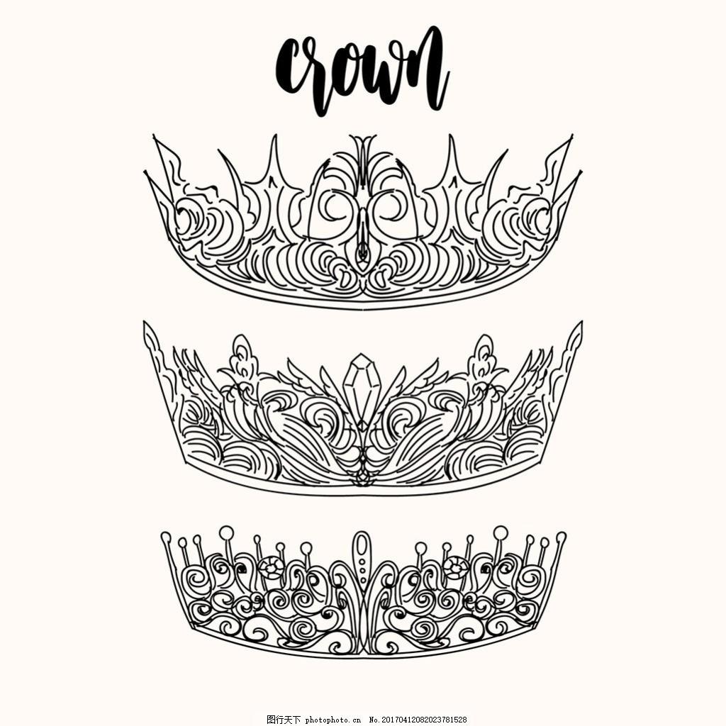 手绘优雅装饰皇冠 线条 矢量皇冠