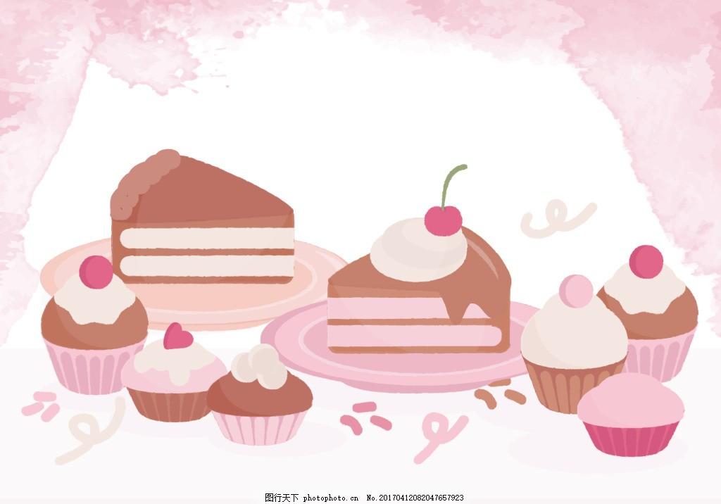 粉色甜美糖果蛋糕 手绘糖果 糖果 手绘食物 手绘美食 糖 甜品 手绘