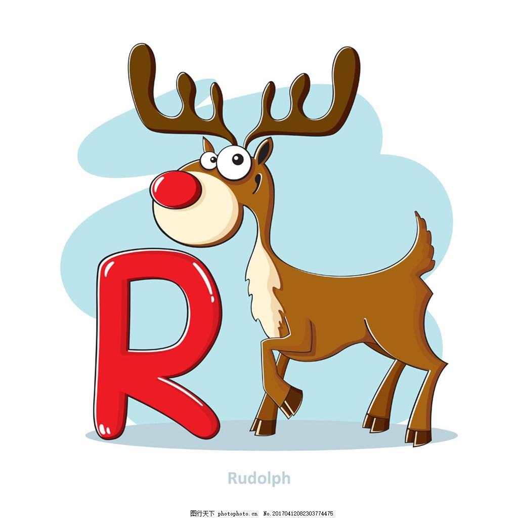 字母r和糜鹿 个性动物英文字母 创意动物字母 漫画动物字母 动物名称