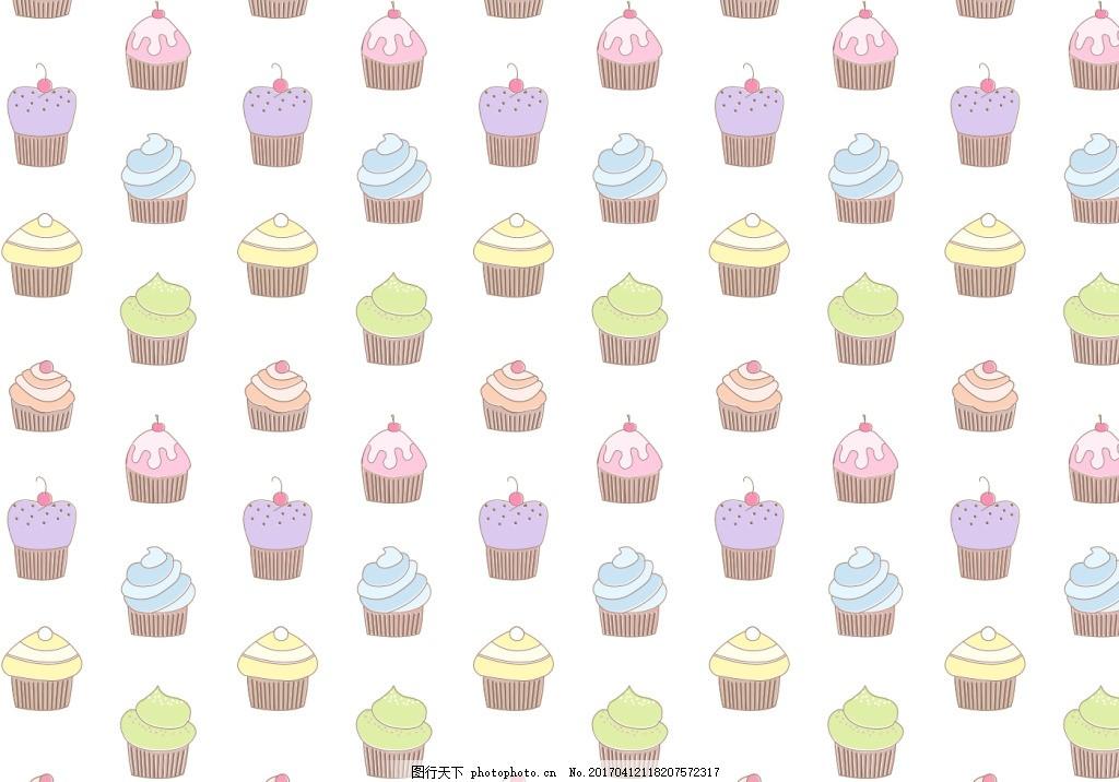 清新手绘杯子蛋糕背景 手绘糖果 糖果 手绘食物 手绘美食 糖 甜品