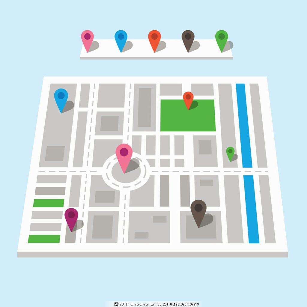 手绘扁平风格带红色导航图标街道地图