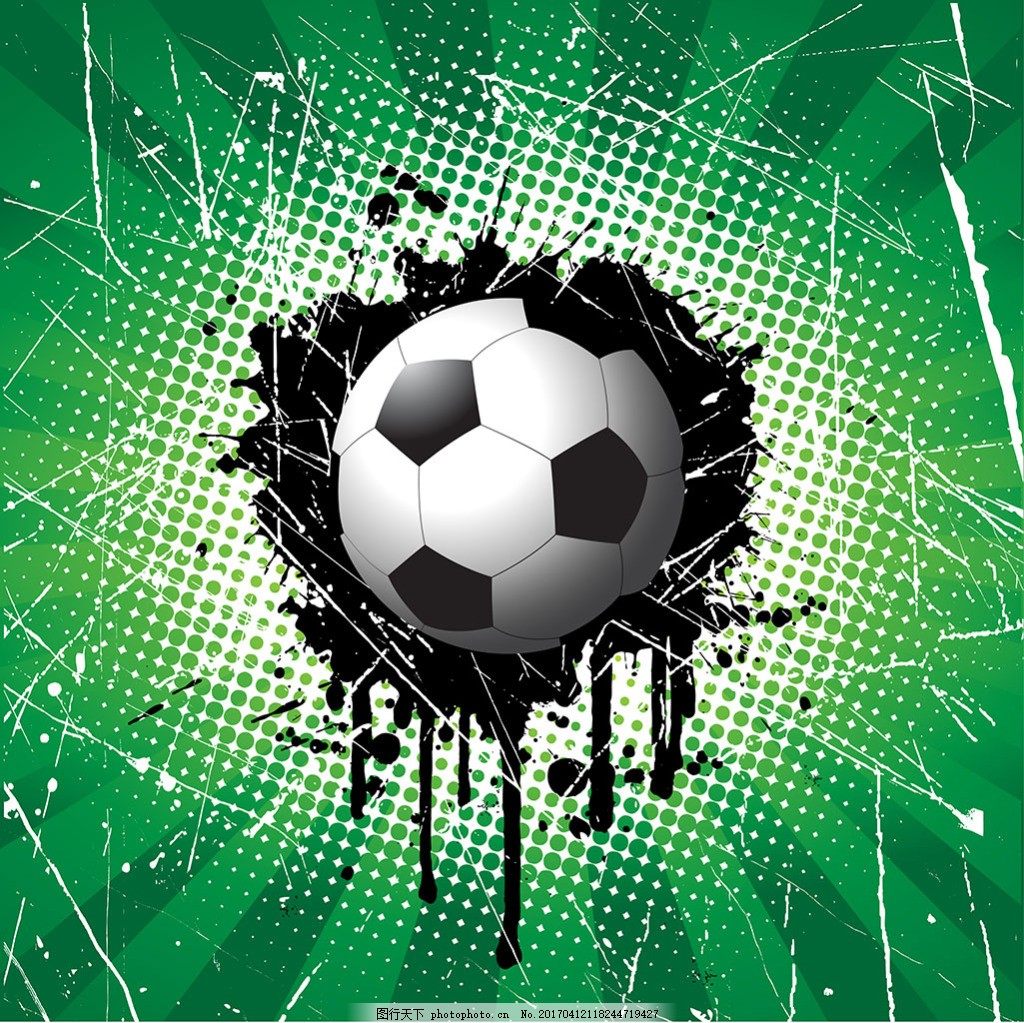手绘足球绿色抽象纹理背景