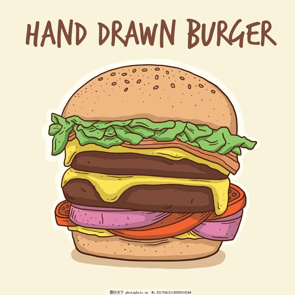 手绘汉堡插图背景