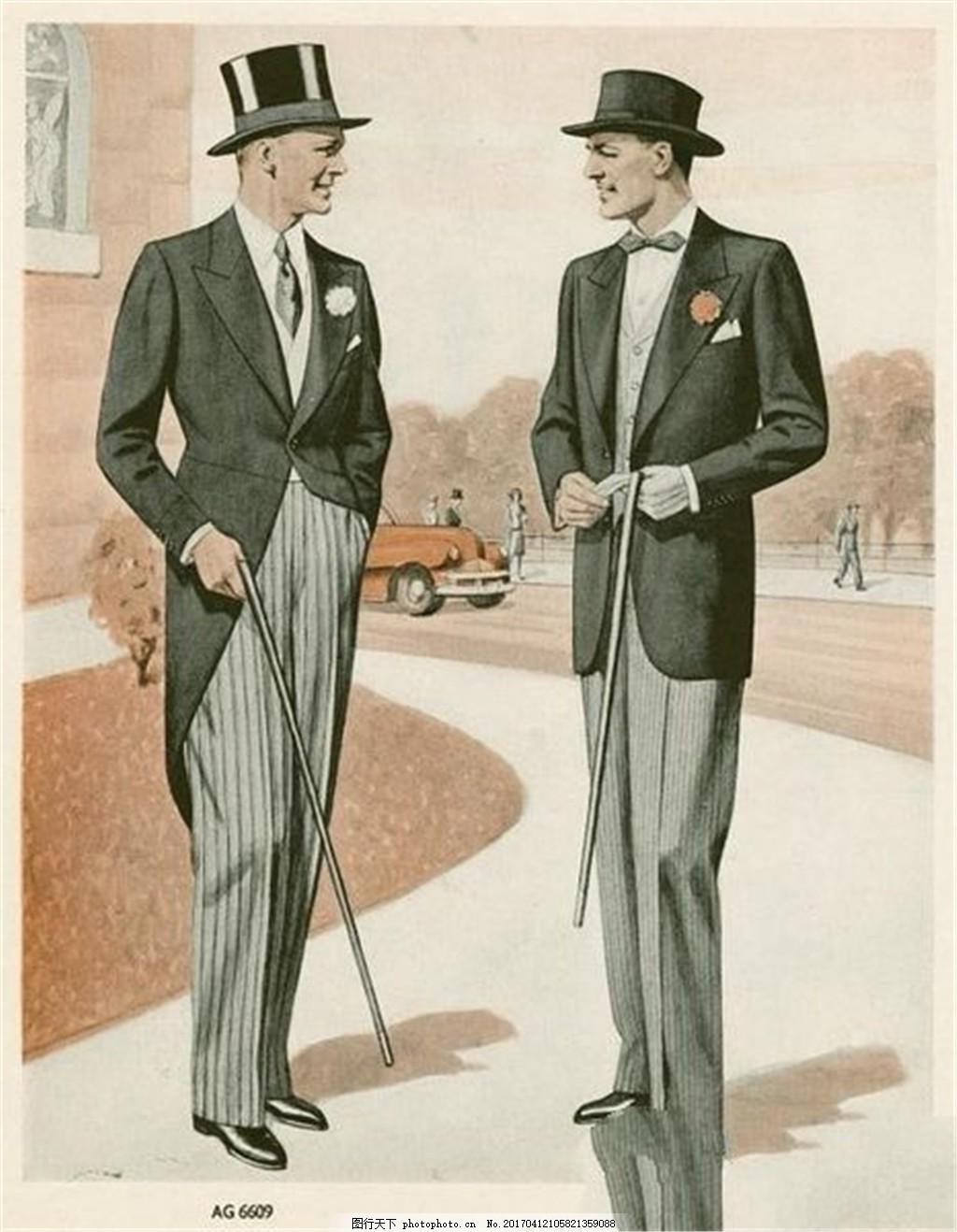 2款欧式时尚男装设计图 时尚女装 职业女装 男装设计效果图 服装图片