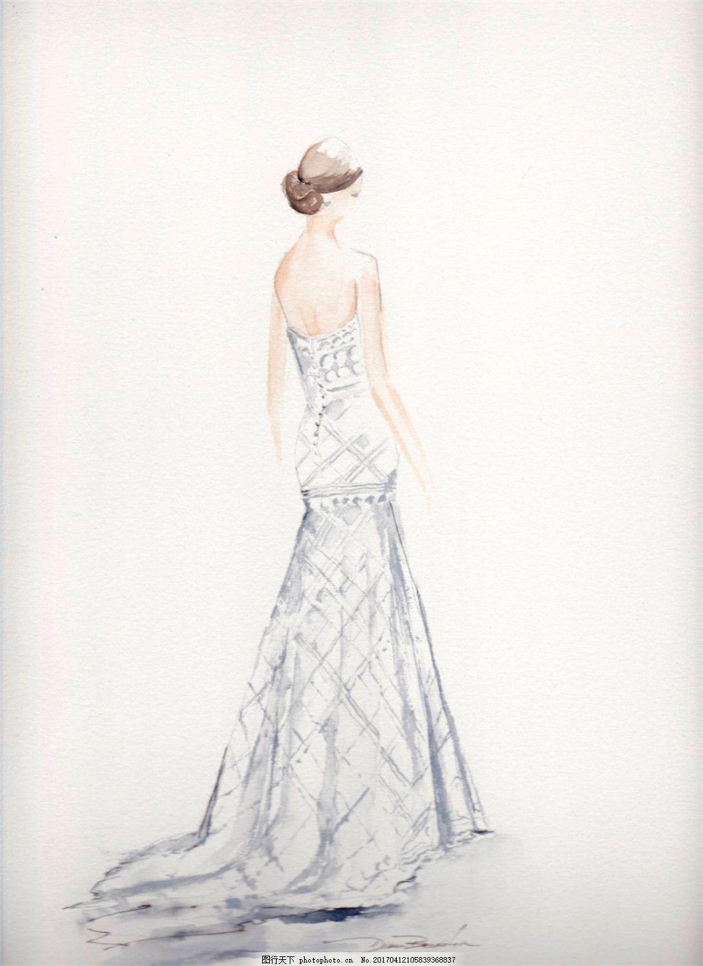 露背长裙礼服设计图