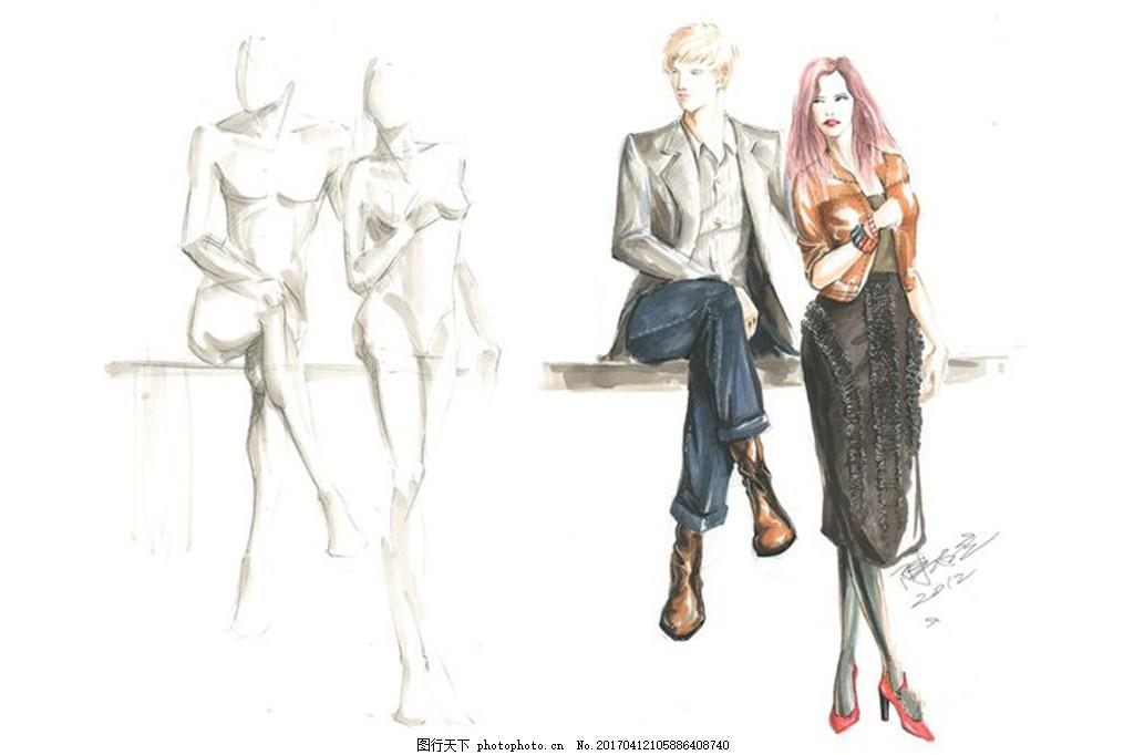 情侣装设计手绘图 时尚女装 女装设计效果图 短裙 服装图片免费下载