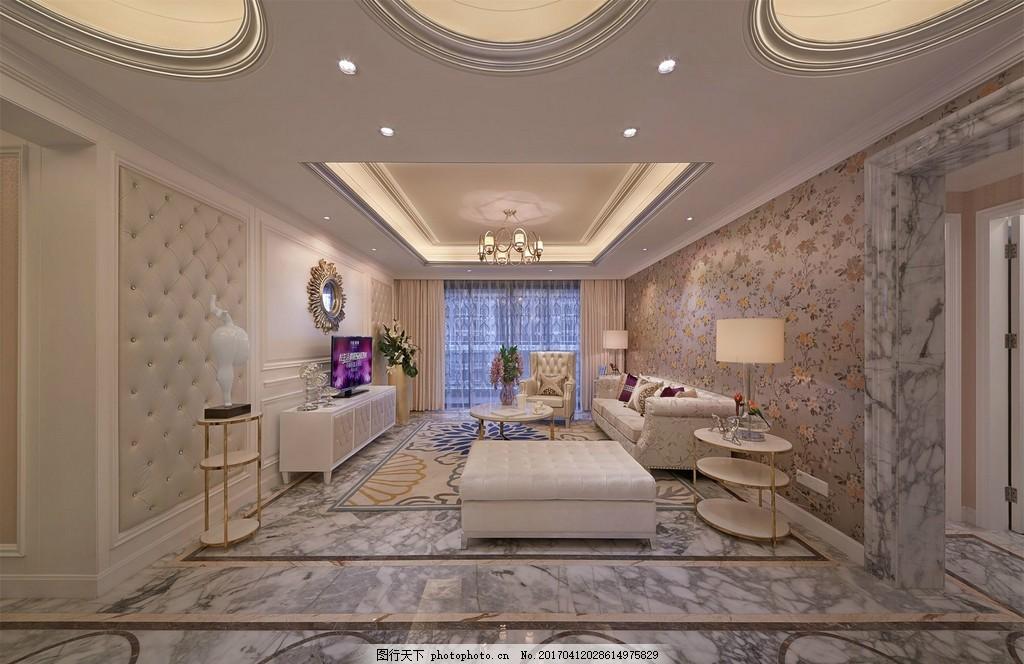 豪华室内客厅吊顶大灯设计图