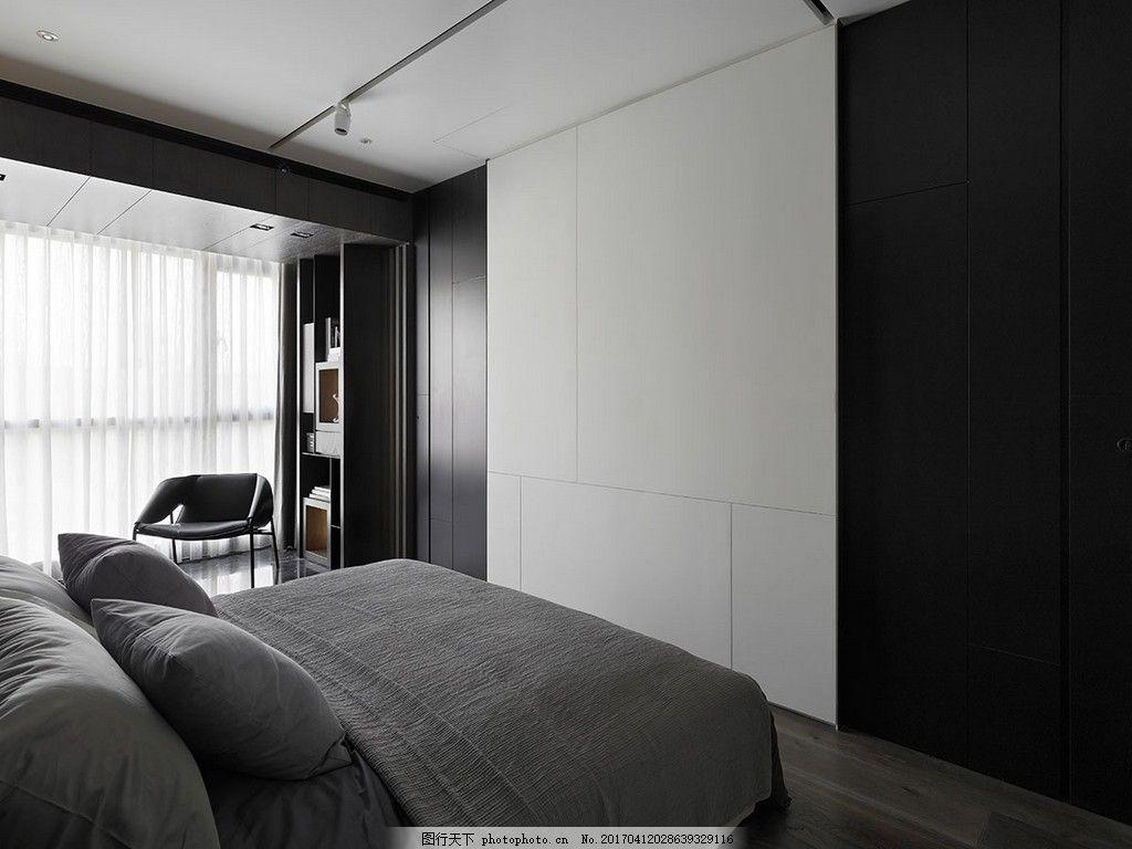 港式简约卧室大床落地窗设计图