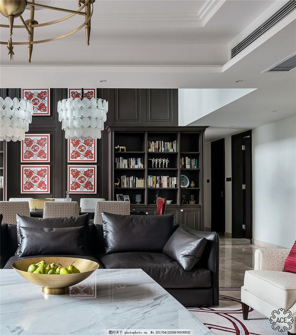 美式时尚黑色沙发设计图 家居 家居生活 室内设计 装修 家具 装修设计图片