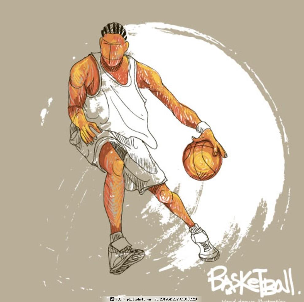 篮球运动员扣篮矢量素材下载(eps)