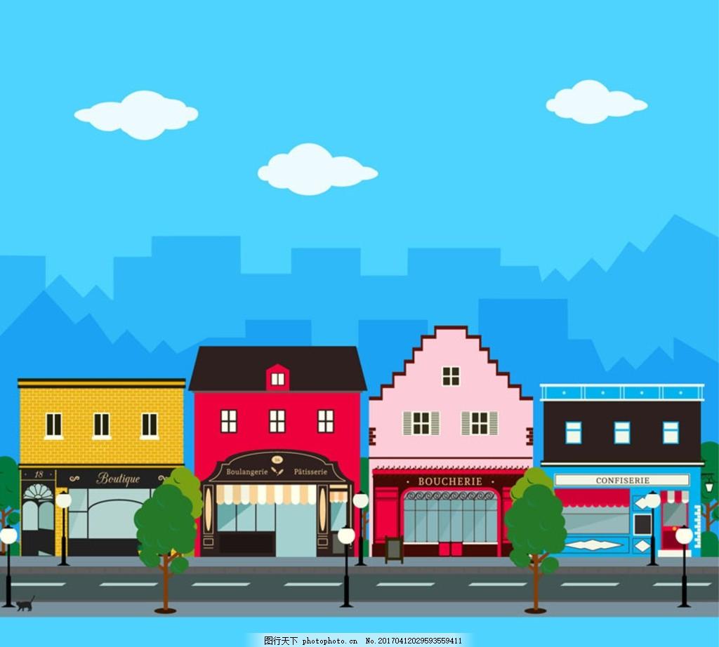 卡通街道 卡通风格 美术素材 动画 cg 场景原画 手绘 原画设定 概念图
