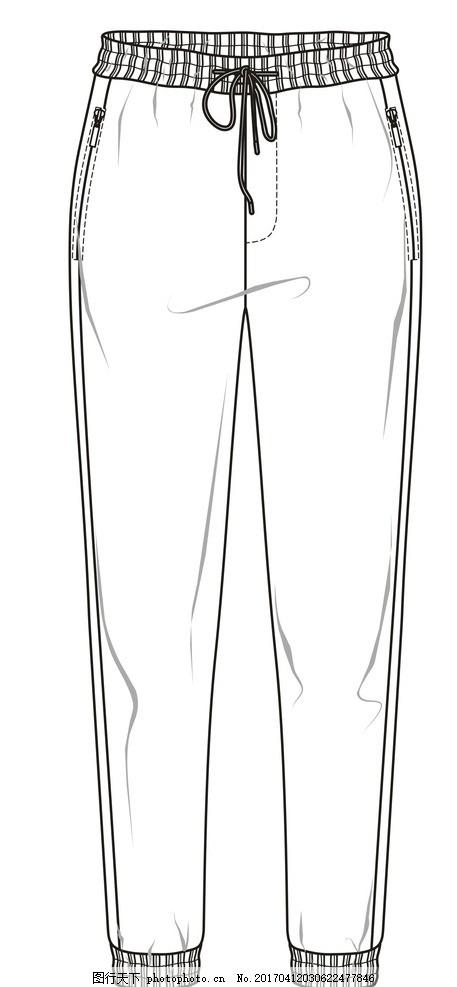 短裤款式图手绘