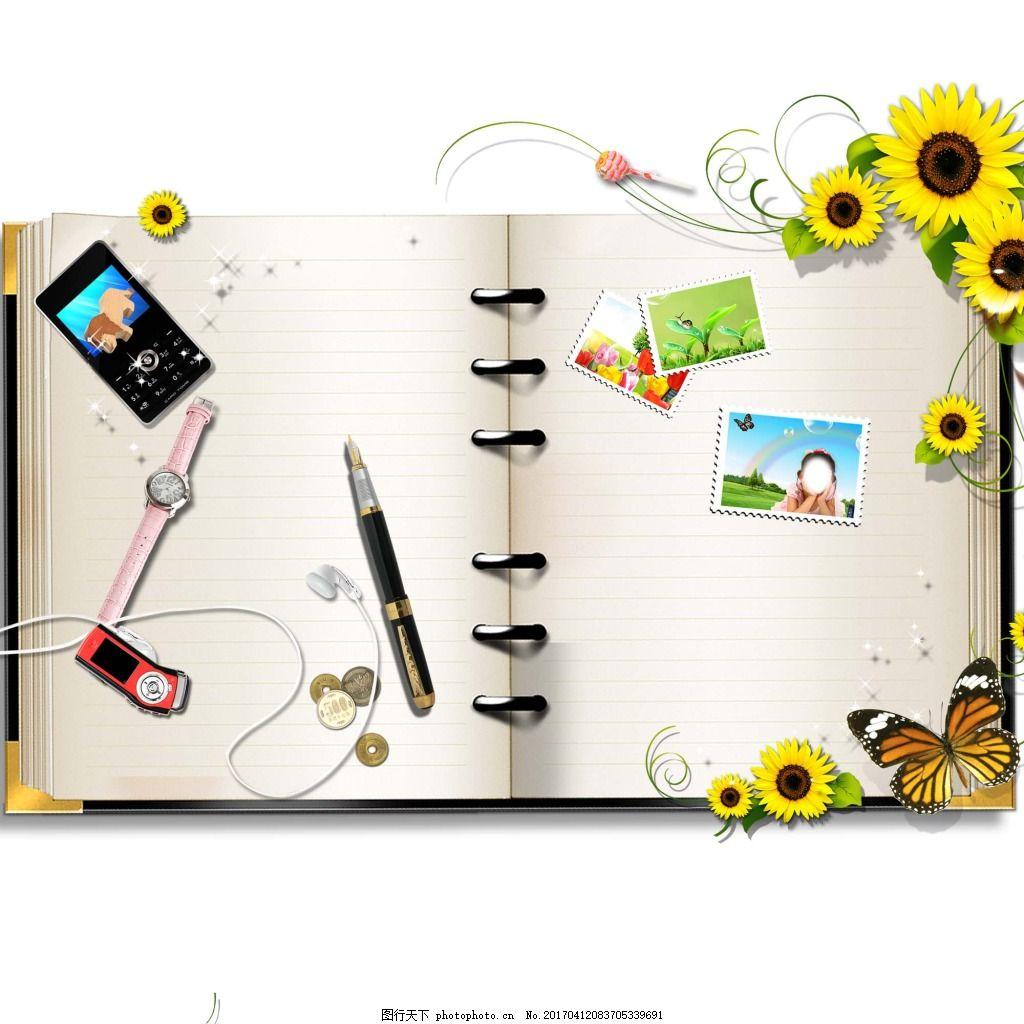 记事本花朵多元素广告素材