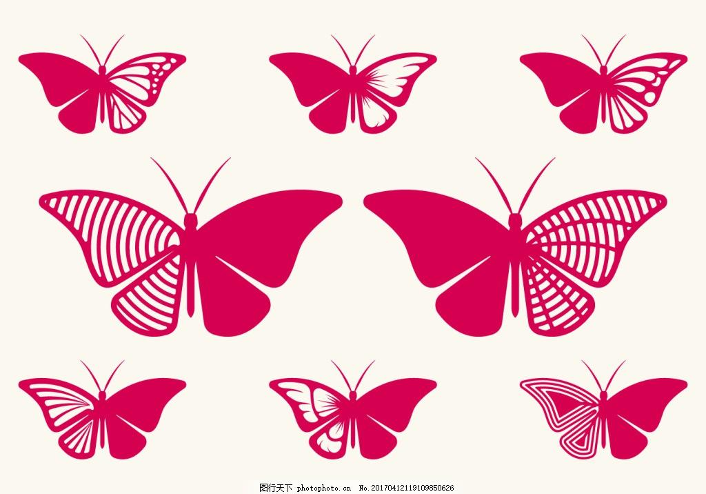扁平化蝴蝶花纹 矢量蝴蝶 矢量素材 手绘蝴蝶 手绘昆虫