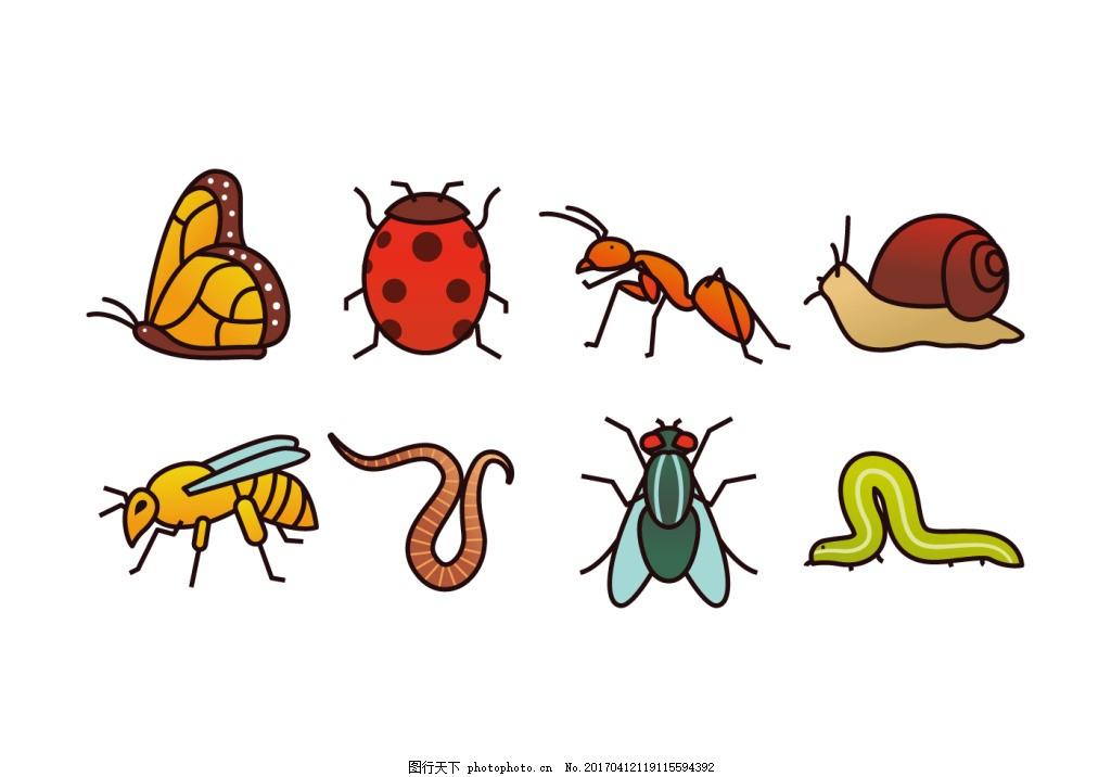 手绘扁平化昆虫素材