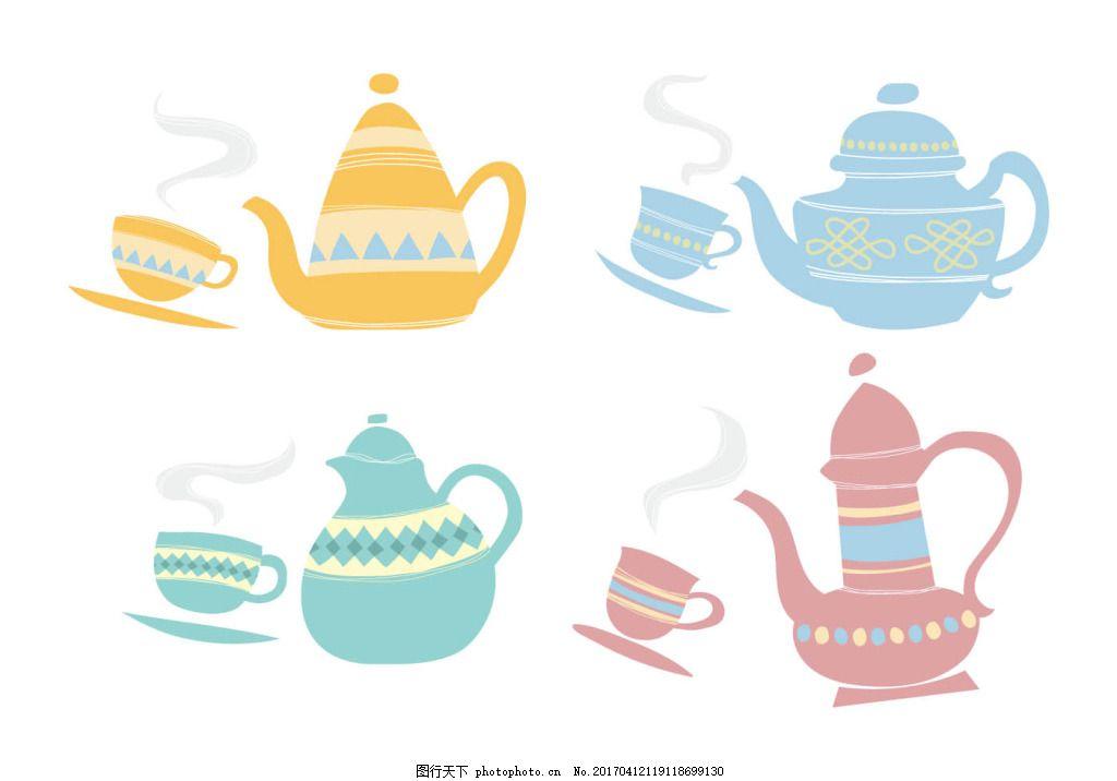 手绘可爱茶壶杯子