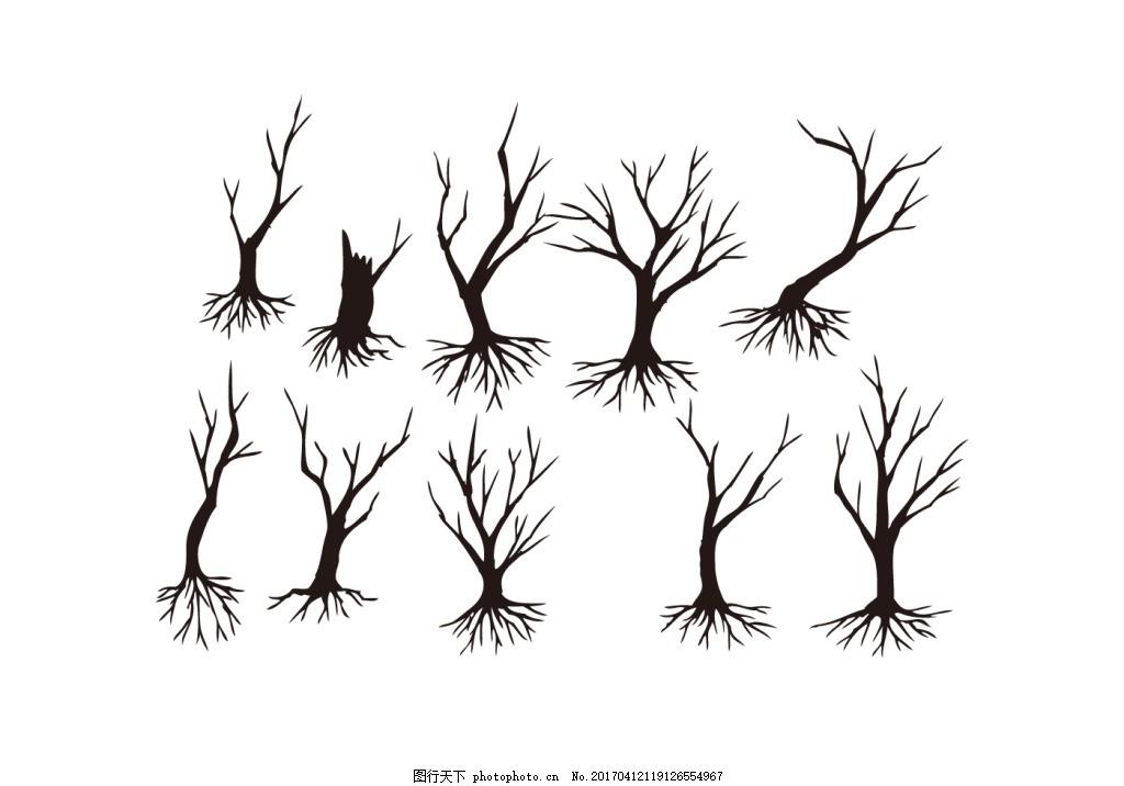 手绘枯枝树木