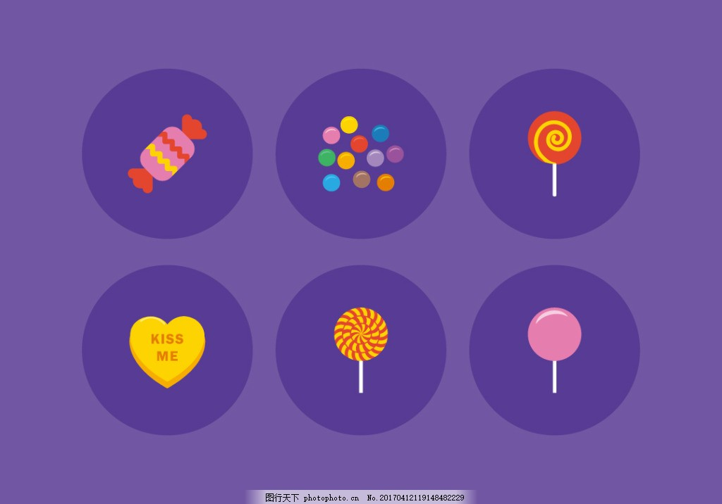 扁平化矢量糖果图标 手绘糖果 手绘食物 手绘美食 甜品 手绘甜点