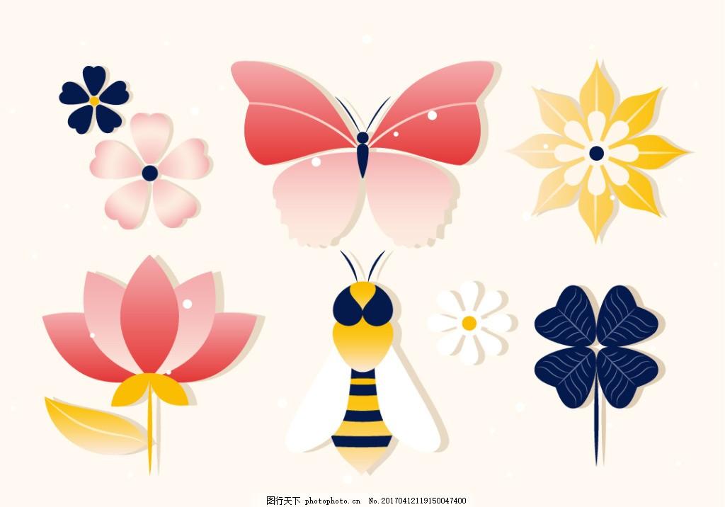 扁平化花卉昆虫素材 唯美 太阳花 手绘太阳花 手绘花朵 花卉花朵 手绘