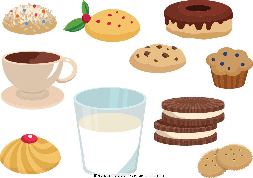手绘矢量饼干甜点