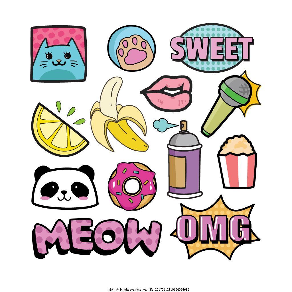 可爱素材 卡通画 漫画风格 矢量素材 熊猫 香蕉 甜甜圈 爆米花 麦克风