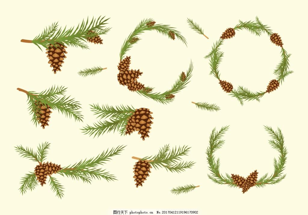 矢量手绘松果松树枝图片