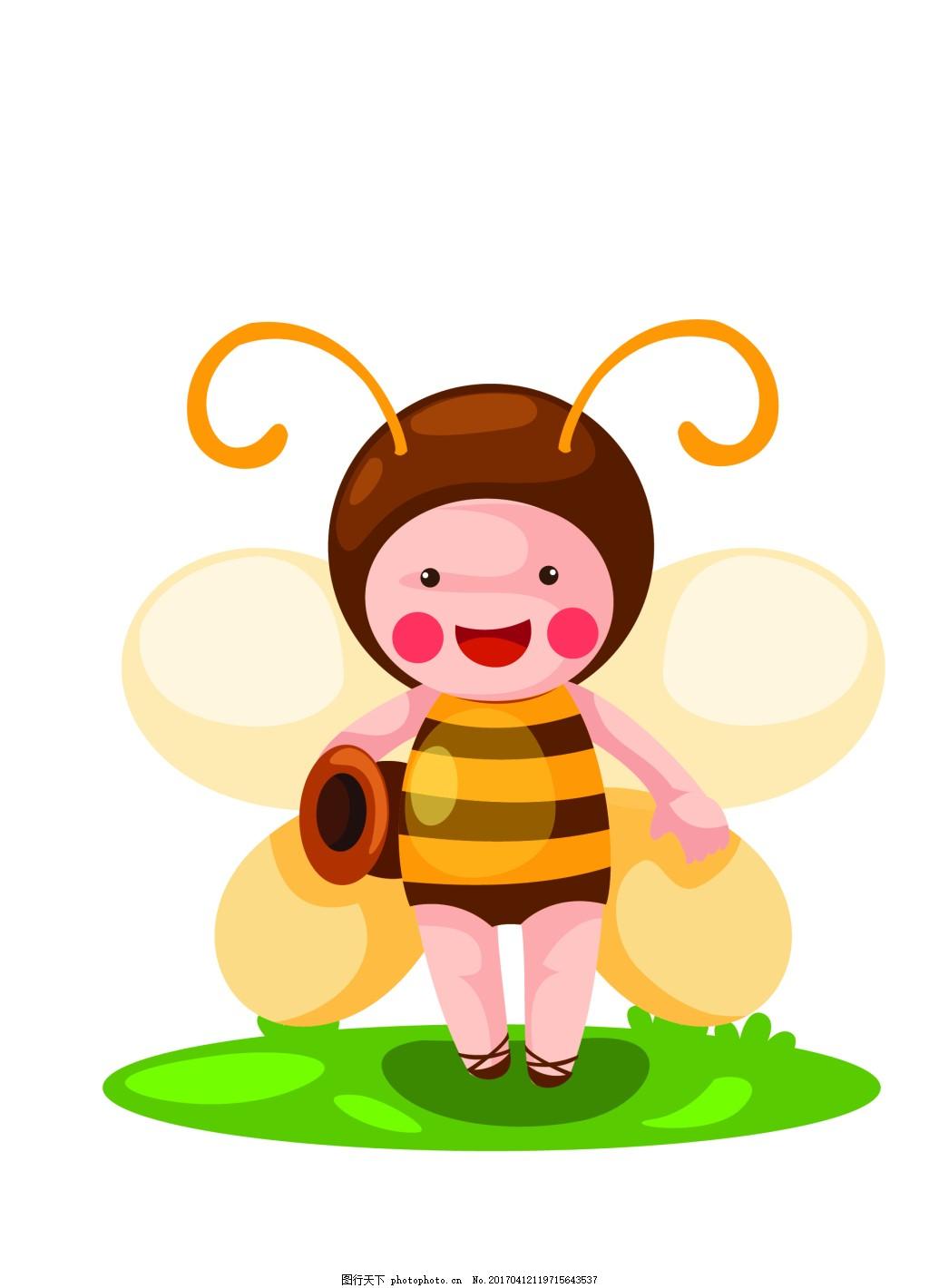 矢量小蜜蜂eps 花纹花边 可爱动物 墙贴 墙画 儿童矢量素材