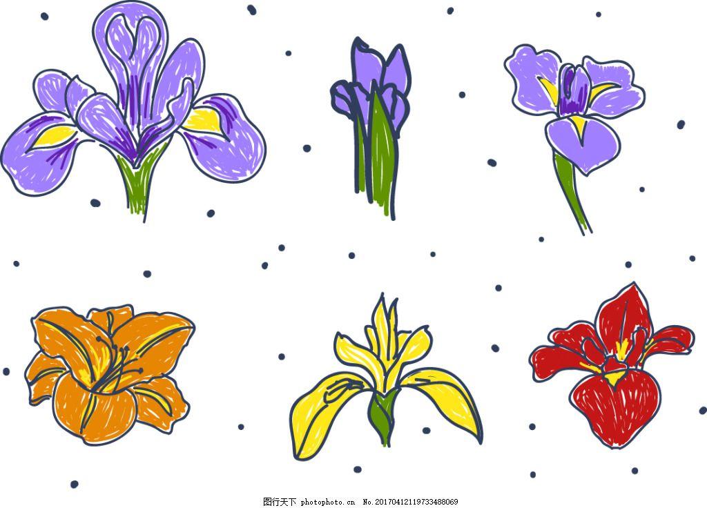 手绘涂鸦花卉素材