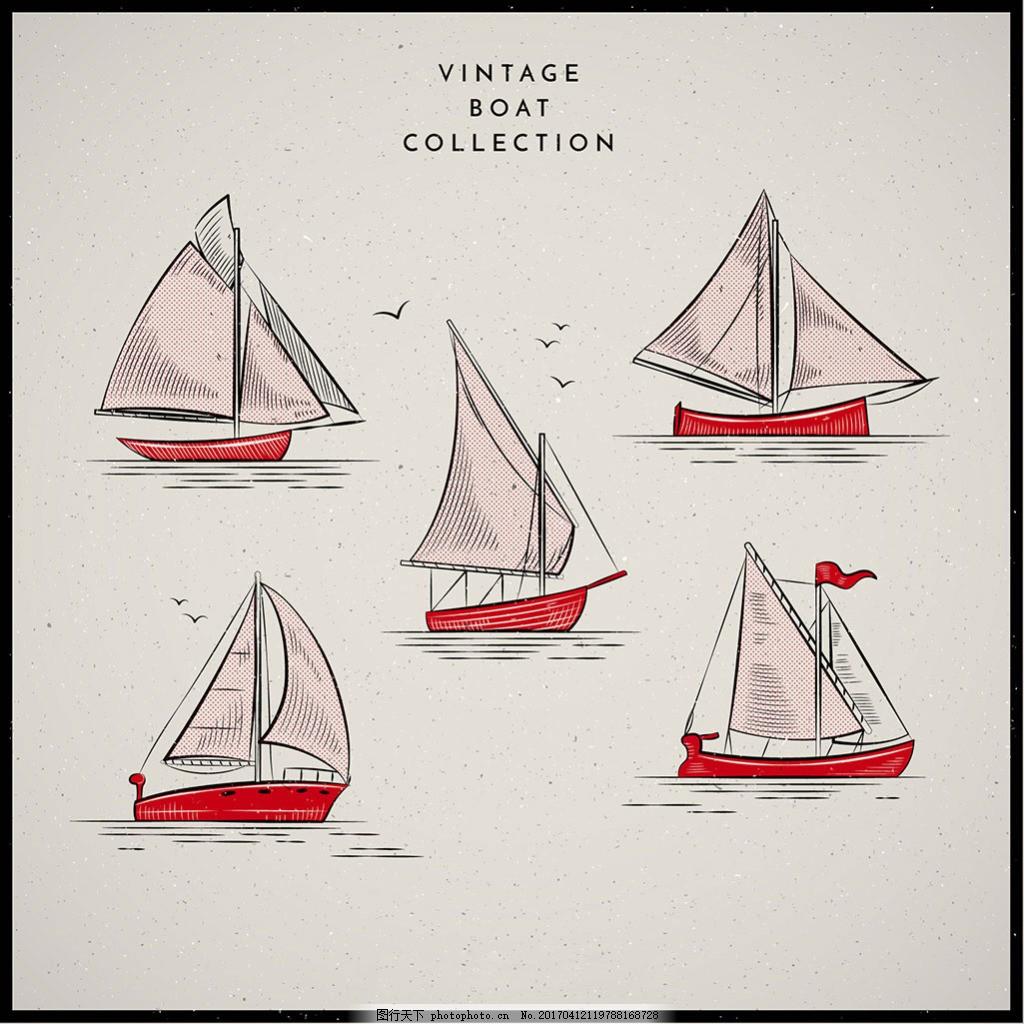 手绘复古风格帆船