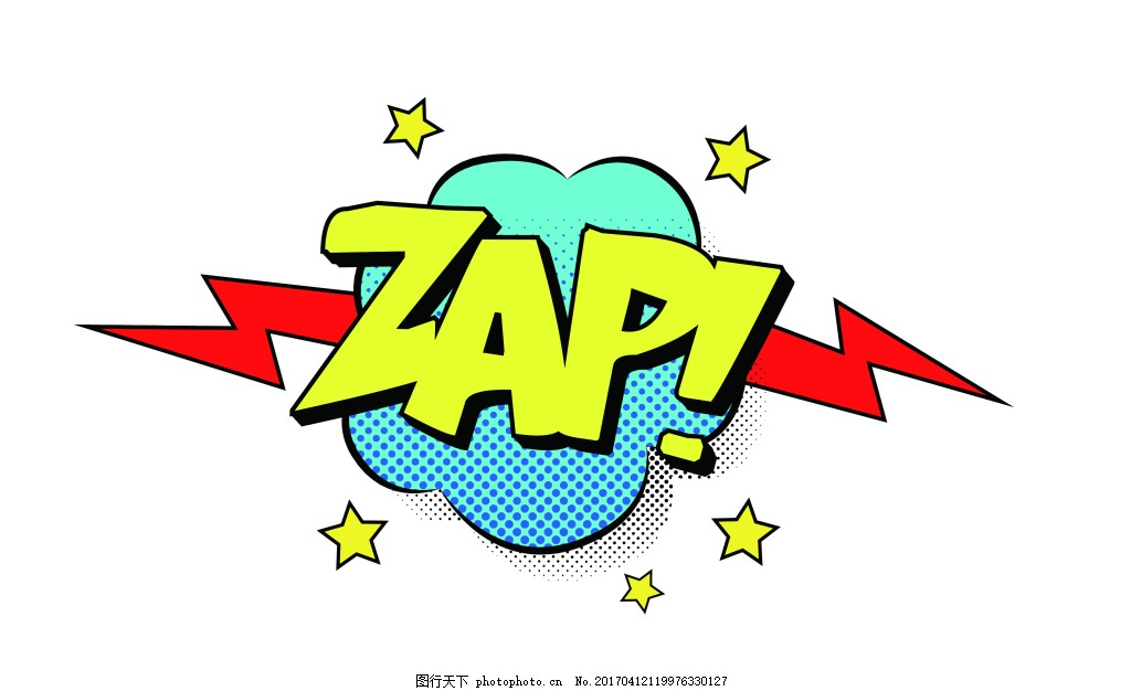卡通字母雷电eps 爆炸贴标签设计矢量素材模板下载 爆炸贴标签设计图片