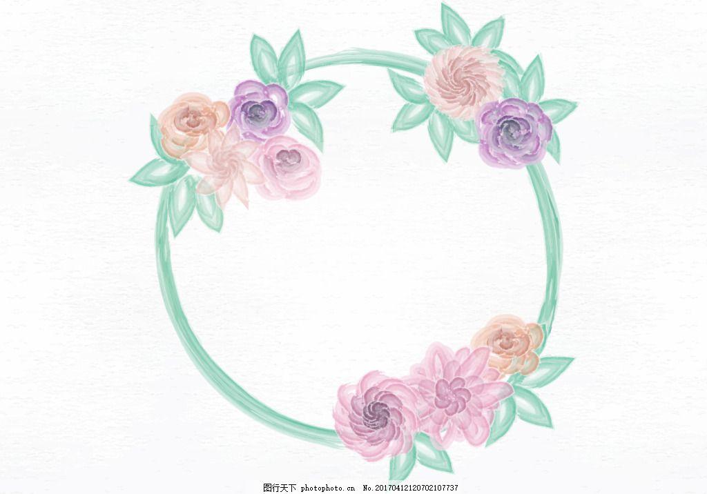 水彩花卉花环素材 唯美 夏季 水彩花卉 花卉花环 花环素材 花环 手绘