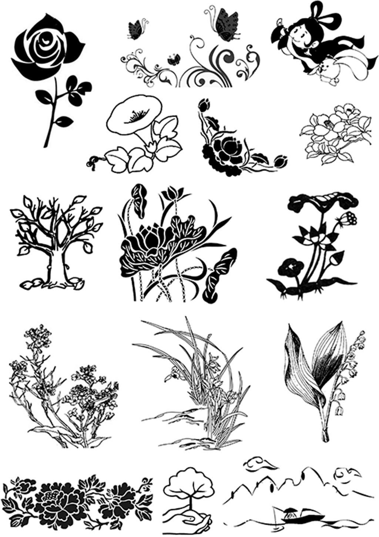 简笔画图片大全 植物图片 线条画 灰度图片