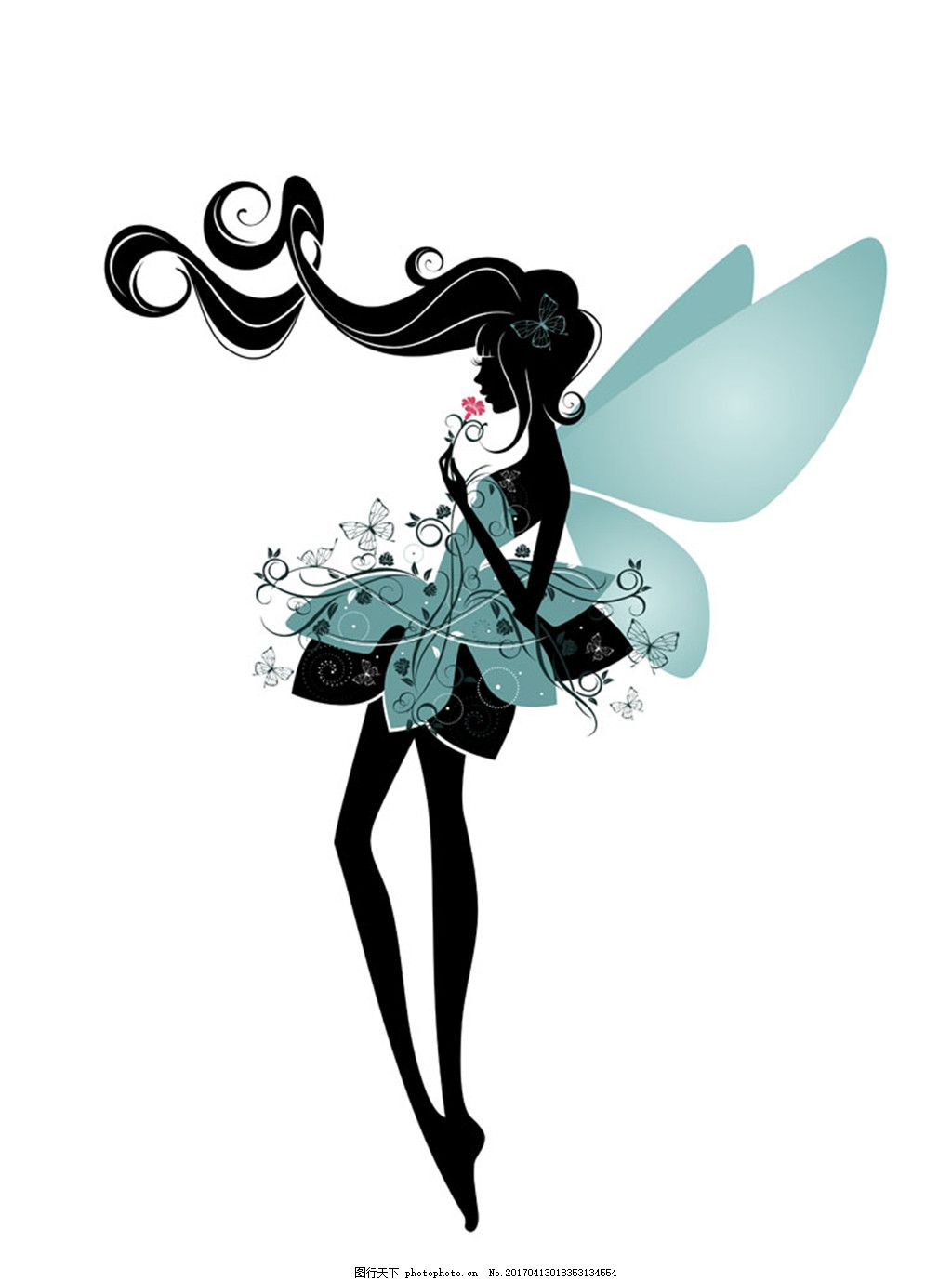 卡通精灵女孩漫画 卡通蝴蝶 卡通女孩 卡通美女 女性插画 卡通女人
