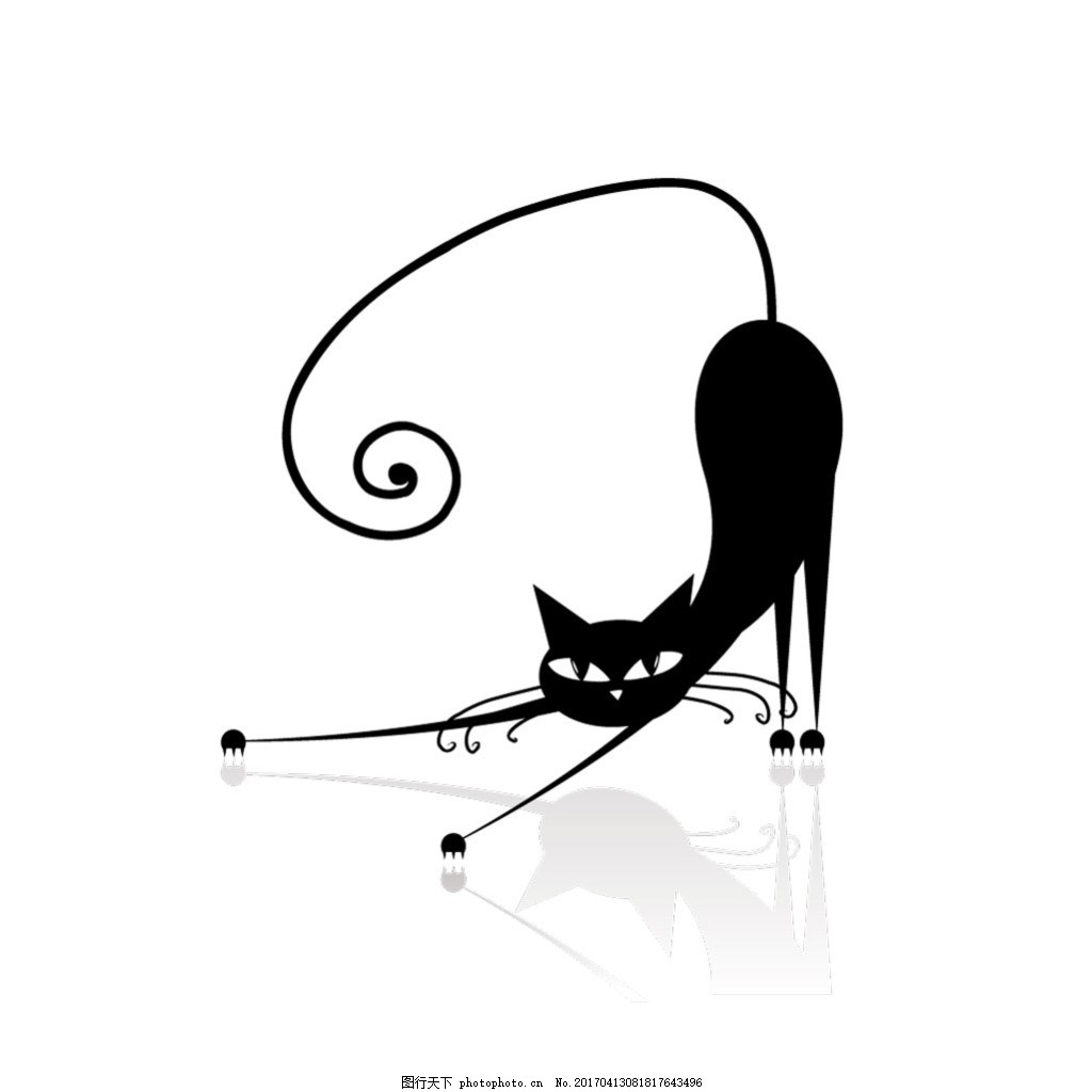 创意手绘黑猫矢量素材