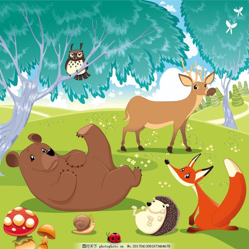 卡通森林动物草地熊狐狸刺猬鹿