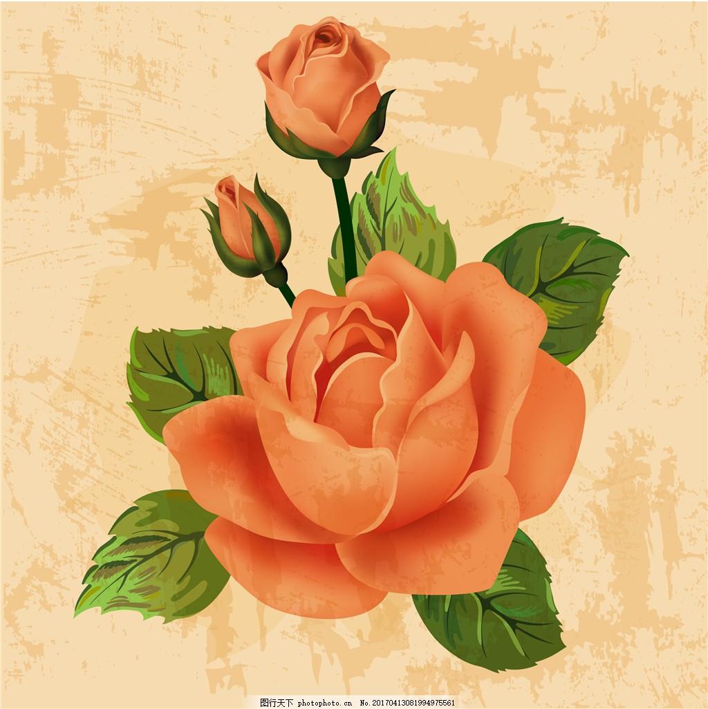 复古手绘玫瑰花
