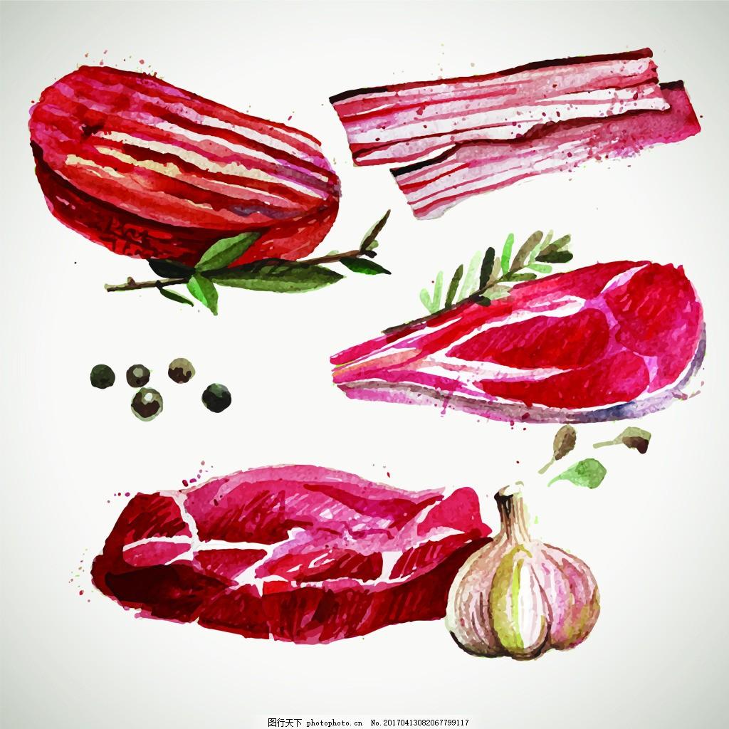 素描手绘肉食物矢量图